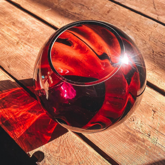 Kugelvase - Kristallglas, granatrot